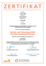 Zertifikat - Frank Dietrich