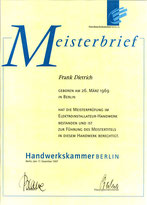 Meisterbrief - Frank Dietrich