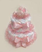 Самый нежный и красивый торт из памперсов для девочки, дкорированный плетёной колясочкой