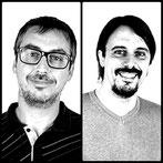 Antonio Bellido y Francisco J. Romero de la empresa Creaktiva responsables de la maquetacion, arte final y logos del álbum Fusión Lenta de Red Booster