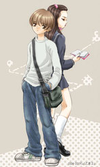 中学生の男の子と女の子のイラスト