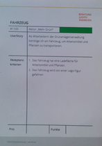 """UserStory """"Grünanlagen-Fahrzeug"""""""