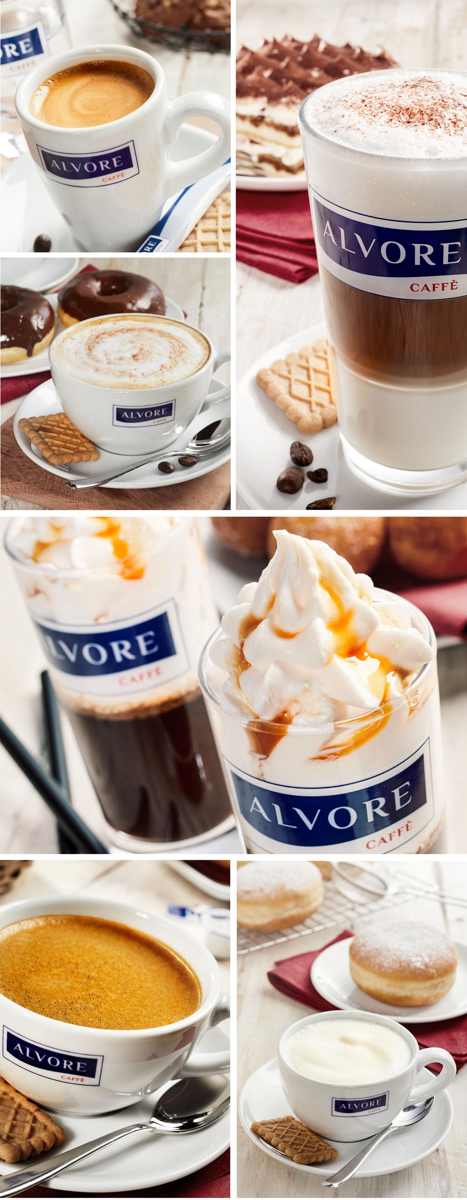 Beverage Fotografie vom Foodfotografen Daniel Reiter von verschiedenen Kaffeeprodukten wie Milchkaffee,Latte Machiato,Espresso mit Kuchen im Hintergrund