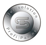 Blue:Solution ProfiPartner-Siegel. Rundes Siegel mit Blue:Solution-Logo und ProfiPartner-Beschriftung