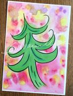 Postkartendruck glänzend mit Illustration Tannenbaum von silvanillion