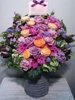 アレンジメントフラワー(楽屋花)を恵比寿エコー劇場にお届け。楽屋お見舞いや公演お祝い、開店お祝いにおすすめです。