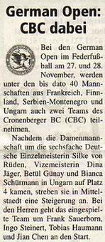Cronenberger Woche Bericht vom 26.11.2004