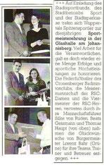 Cronenberger Anzeiger Bericht vom 22.03.2005 Sportlerehrung
