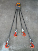 長短4点吊ワイヤロープ  フック付