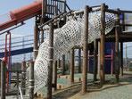 加賀鳶梯子を支える綿ロープ