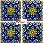 Azulejo Talavera modelo LLuvia o Playa Azul con Amarillo en 10.5 x 10.5 cm, ideal para baños y cocinas mexicanas lo encuentras en Rústicos Artesanales visítanos en nuestra web www.rusticosartesanales.com