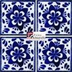 Azulejo Talavera modelo Jardín Azul en 10.5 x 10.5 cm, ideal para baños y cocinas mexicanas lo encuentras en Rústicos Artesanales visítanos en nuestra web www.rusticosartesanales.com