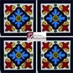 Azulejo Talavera modelo Hortencia en 10.5 x 10.5 cm, ideal para baños y cocinas mexicanas lo encuentras en Rústicos Artesanales visítanos en nuestra web www.rusticosartesanales.com