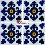 Azulejo Talavera modelo Valencia Azul con Amarillo en 10.5 x 10.5 cm, ideal para baños y cocinas mexicanas lo encuentras en Rústicos Artesanales visítanos en nuestra web www.rusticosartesanales.com