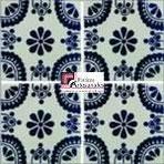 Azulejo Talavera modelo Madrid Azul en 10.5 x 10.5 cm, ideal para baños y cocinas mexicanas lo encuentras en Rústicos Artesanales visítanos en nuestra web www.rusticosartesanales.com