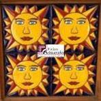 Azulejo Talavera modelo Sol de Picos en 10.5 x 10.5 cm, ideal para baños y cocinas mexicanas lo encuentras en Rústicos Artesanales visítanos en nuestra web www.rusticosartesanales.com