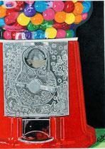 Dessin crayons de couleur machine à boules de gommes rouge et gris