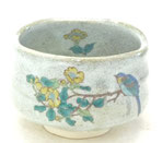 九谷焼『抹茶碗』金糸梅に鳥