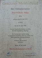 Uhrmachermeister Stupp Goldener Meisterbrief uhrmacher