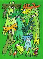 """""""in der Bar zum grünen Elch"""", Acryl auf Leinwand, 24/17cm, Noember 2009"""