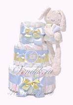 Нежно голубой торт из памперсов с пушистым зайчиком - подарок для новорожденного мальчика