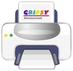 ein Drucker mit dem Logo der Gripsy-Rätselwerkstatt