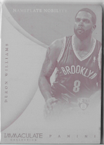 DERON WILLIAMS / Immaculate - Nameplate Nobility (No. 18)