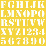 Plantillas o stencils con letras y números para estarcir.