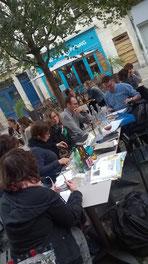 cours de dessin en terrasse de l'Oiseau Cabosse à Bordeaux