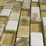Beige travertine, botticino, mother of pearl, and glass blend.