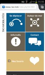 Version mobile du site internet du réseau orléanais TAO.