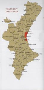 Mapa de la Zona de la Comunidad Valenciana donde se planta la chufa.