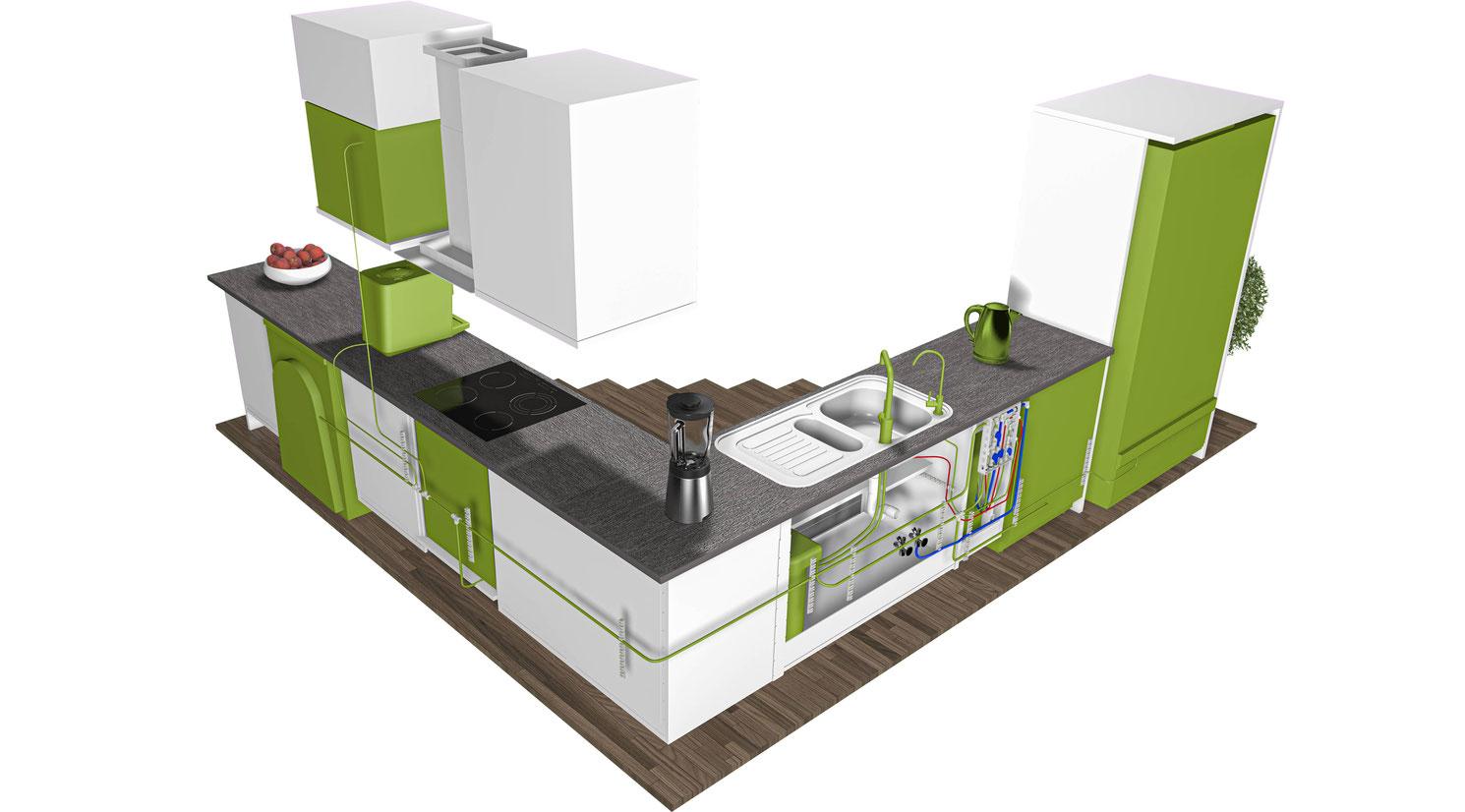 Verdanium MAX Beispielinstallation in der Küche Rückansicht