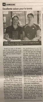 L'Eveil sport tennis Langeac article PM BESNOIT