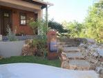 三毳石、洗い出し舗装、塗り壁、イタウバ、目隠しフェンス、施工例