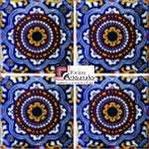 Azulejo Talavera modelo Rosario Azul en 10.5 x 10.5 cm, ideal para baños y cocinas mexicanas lo encuentras en Rústicos Artesanales visítanos en nuestra web www.rusticosartesanales.com