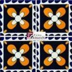 Azulejo Talavera modelo Moo Azul con Amarillo en 10.5 x 10.5 cm, ideal para baños y cocinas mexicanas lo encuentras en Rústicos Artesanales visítanos en nuestra web www.rusticosartesanales.com