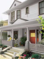 Chevy Chase - Painting of exterior front porch trim, columns and railing.
