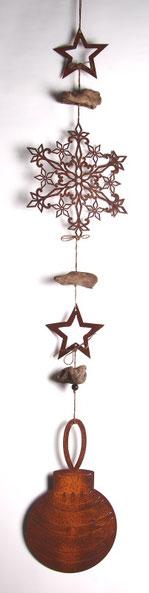 Rost Kette mit Tannenbaumkugel, Stern und Eiskristall