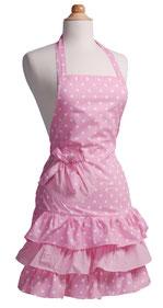Beliebte Vintage Schürze in rosa mit Rüschen