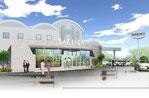 岡山県に建設のケ-キ店の外観パ-ス