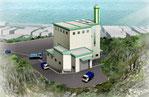 九州に建設計画の海の近くの熱処理施設の鳥瞰パース