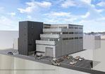 岡山県に建設計画の資料保管施設の外観パース