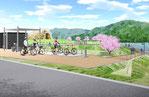 岡山県の大学拡張計画の鳥瞰パース