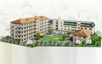 岡山県に建設計画の高齢者施設の鳥瞰パ-ス