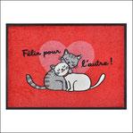 Tapis de cuisine Felin pour L'Autre chat rouge coeur