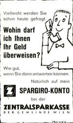 Spargiro-Konto Inserat Sparkasse um 1960.