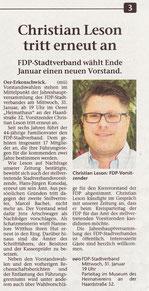 Artikel der Stimberg Zeitung vom 13.1.2018