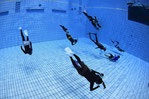 ドルフィンスイム,スキンダイビング練習中のスイマー