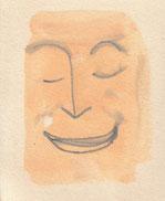 """""""Cara feliz 12"""" pintura de pared, grafito acuarelable sobre cartón.2013"""